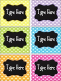 Editable Labels - Bright Polka Dot With Chalkboard