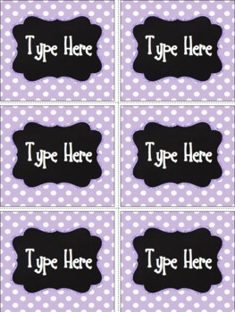 Editable Labels - Chalkboard and Bright Purple Polka Dot