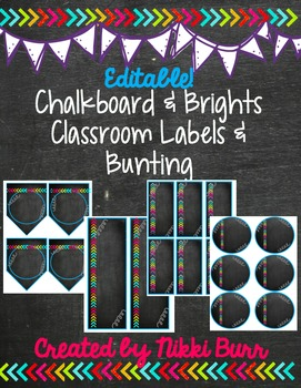 Editable Chalkboard & Brights Classroom Labels & More!