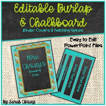 Editable Chalkboard & Burlap Binder Covers