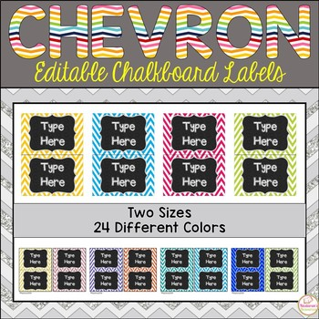 Editable Labels -Chalkboard and Chevron Labels