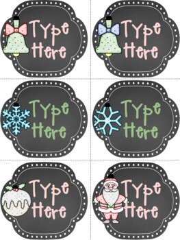 Editable Labels-Chalkboard Christmas Labels