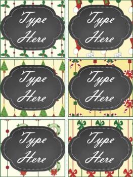 Editable Chalkboard Christmas Labels