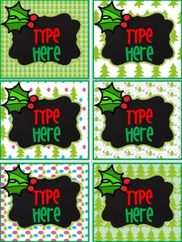 Editable Labels-Chalkboard Christmas Labels With Holly Leaves