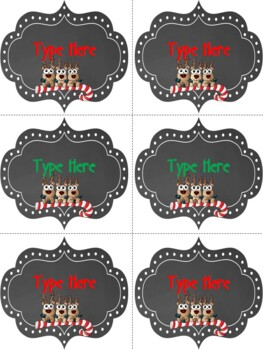 Editable Labels-Chalkboard Christmas Labels With Reindeer