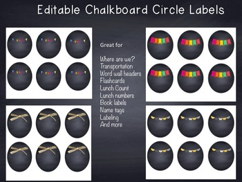 Editable Chalkboard Circle Labels