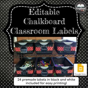 Editable Chalkboard Classroom Labels - Great for school supplies!