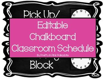 Editable Chalkboard Classroom Schedule
