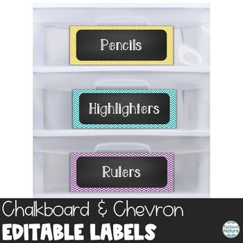 Editable Chalkboard Classroom Supply Labels - Chevron Printable