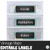 Editable Chalkboard Classroom Supply Labels - Maps Printable