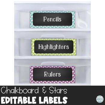 Editable Chalkboard Classroom Supply Labels - Stars Printable