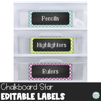 Editable Chalkboard Classroom Supply Labels - Stars Printable