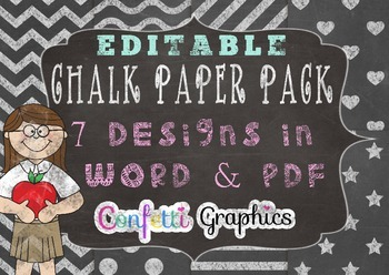 Editable Chalkboard Digital Papers With Frame Chevron