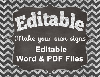 Editable Chalkboard Digital Papers With Frame Chevron Chalk Make Your Own Signs