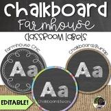 Editable Chalkboard Farmhouse Classroom Labels