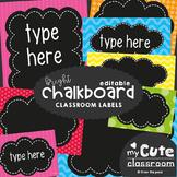 Editable Chalkboard Labels - Brights