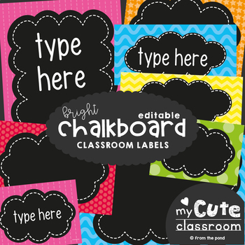 Editable Chalkboard Labels - Brights