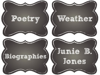 Editable Chalkboard Library Labels