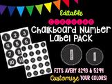 Editable Chalkboard Number Label PACK (Circular)