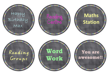 Editable Chalkboard/Pastel Circle Labels