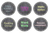 Editable Chalkboard/Pastel Circle Labels