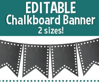 Editable Chalkboard & Polka Dot Banner
