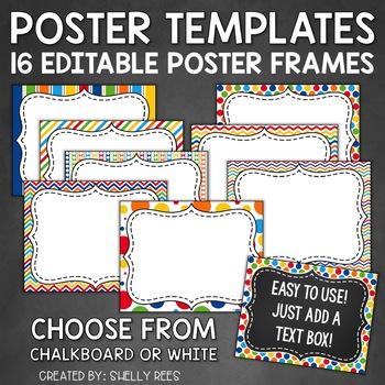 Editable Chalkboard Poster Frames - 8 Fun, Colorful Designs