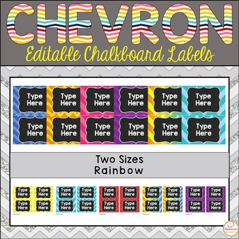 Editable Labels - Chalkboard and Rainbow and Chevron Labels