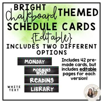 Editable Bright Chalkboard Schedule Cards