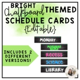 Editable Bright Chalkboard Schedule Cards