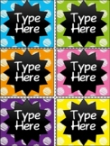 Editable Labels - Chalkboard and Scribble Polka Dot