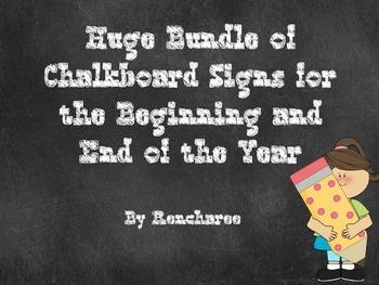 Editable Chalkboard Signs for Preschool-5th Grade