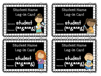 Editable Chalkboard Student Log-In Cards