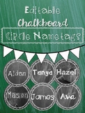 Editable Chalkboard Student Name Tags Circle