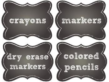Editable Chalkboard Supply Labels