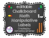 Editable Chalkboard Theme Math Manipulatives Labels