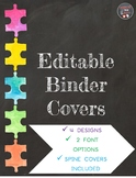 Editable Binder Cover (Chalkboard Watercolor Puzzle Piece Design)