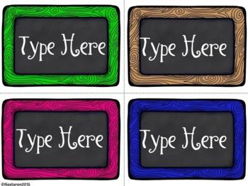Editable Labels-Chalkboard Wood Frame  Labels
