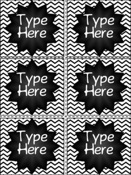 Editable Chalkboard and Black & White Chevron Labels