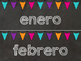 Editable Chalkboard and Brights Calendar Month Headings in Spanish