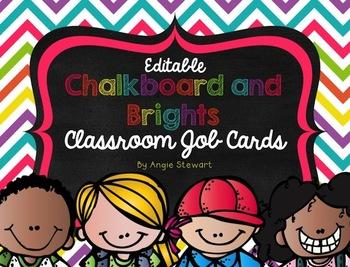 Editable Chalkboard and Brights Classroom Job Labels