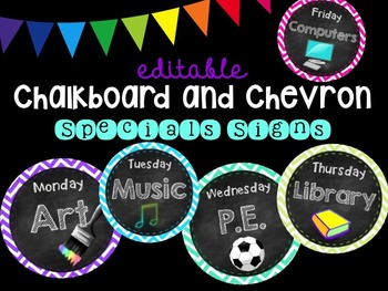 Editable Chalkboard and Chevron Specials Signs