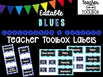 Editable Chalkboard and Chevron Teacher Toolbox Labels (Blue)