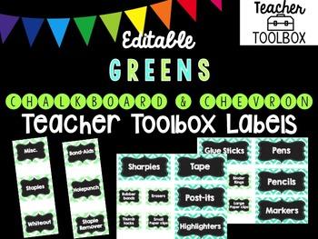 Editable Chalkboard and Chevron Teacher Toolbox Labels (Green)