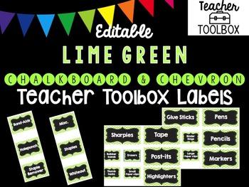 Editable Chalkboard and Chevron Teacher Toolbox Labels (Li