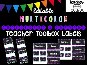 Editable Chalkboard and Chevron Teacher Toolbox Labels (Multicolor)