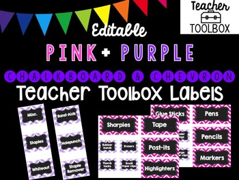 Editable Chalkboard and Chevron Teacher Toolbox Labels (Pink and Purple)