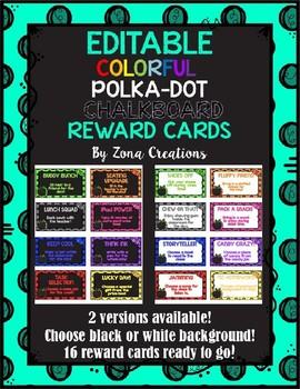 Editable Chalkboard and Colorful Polka Dot REWARD Cards