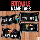 Name Tags For Desks Editable- Chalkboard and Superhero
