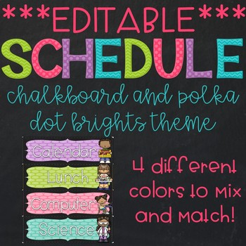 Editable Chalkboard and Polka Dot Brights Daily Schedule